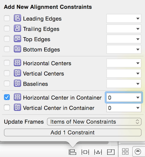 Horizontal Center and Update Frames to Items of New Constraints