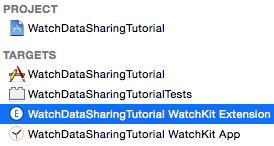 Select the WatchKit Extension and turn on App Groups in the Capabilities tab.