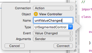 Create a Value Changed action for the UISegmentedControl in the iOS app.